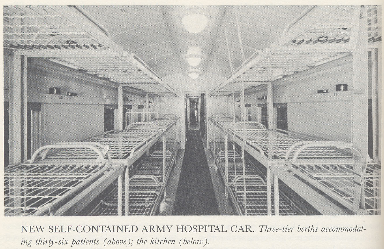 View of ward in Army hospital car