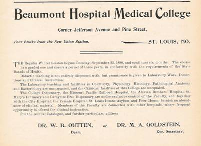 Ad for Beaumont Medical College