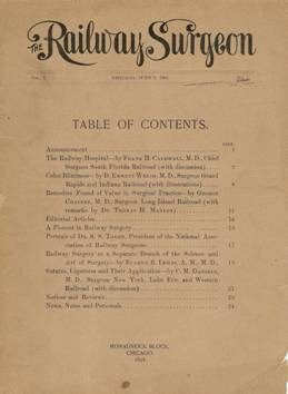 Cover of first issue of The Railway Surgeon