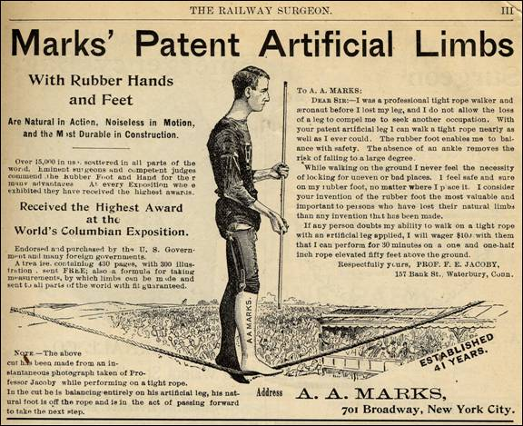 Ad for artificial limbs