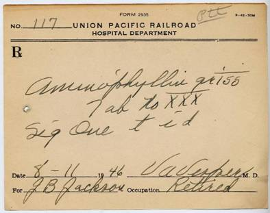 Prescription from Union Pacific Hospital