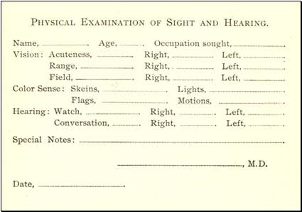 Hearing and vision test results card